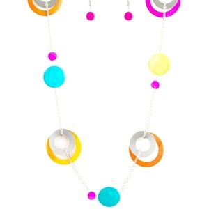 Multi colored necklace and earrings set